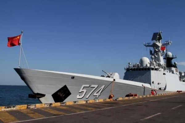 A Chinese navy ship is seen docked after an exercise with Cambodian naval officers in Preah Sihanouk province